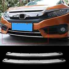 2*For Honda Civic 2016 2017 Chrome Front Bumper Moulding Cover Trim Grille Cover