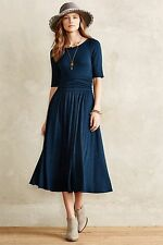 New Anthropologie Jersey Midi Dress by Bordeaux BLUE Classic Size S