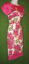 Le Bos Pink Orange Green Floral Stretch Cotton Tulip Sleeve Dress 12 $98 MISC