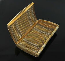 Vintage 0.30ct Diamond & 18K White & Yellow Gold Hand Woven Wallet Clutch Purse