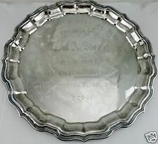 VINTAGE SILVER PLATE ROUND TRAY SCHOOL DISTRICT TROPHY PRIZE ENGRAVED