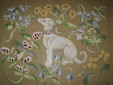 "Needlepoint Tapestry Canvas by Hervé Lelong GREYHOUND DOG WITH FLOWERS 16½""x12⅜"""