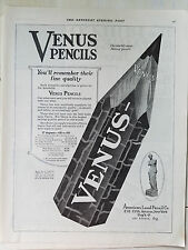 1920 Antique VENUS PENCILS American Lead Pencil Co Original Writing Ad
