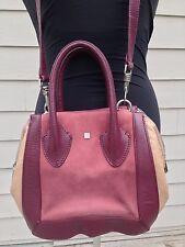 POUR LA VICTOIRE Color Block Oxblood Leather Beige Nubuck PRADO Satchel ($395)