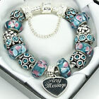 Pink Blue Charm Bracelet ENGRAVED FREE with ANY MESSAGE Birthday Mothers Day