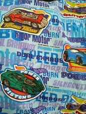 Hot Wheels Twin Sheets Fitted & Flat Set Blue Vintage 1997 Boys Car Bedding