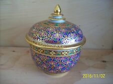 THAILAND hand painted porcelain tea cup with cover , gold gilt, Thai set crafted