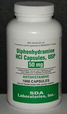 Diphenhydramine 50mg Capsules (Sleep Aid & Antihistamine)1000ct