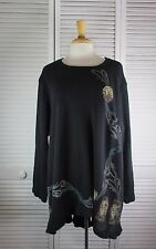 Eclipse Tunic Black Thermal w/ Art Nouveau  1X by Blue Fish Red Moon Clothing