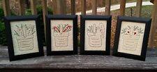 Handstitched Set/4  Primitive Christmas 5x7 Framed Stitcheries