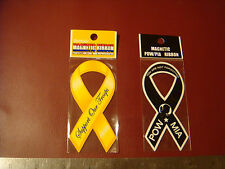 SUPPORT OUR TROOPS and POW MIA Patriotic ribbon car or refrigerator magnet  4""