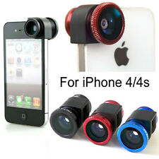 3 in 1 Kit Fish eye Wide Angle Macro Camera Photo Zoom Lens for iPhone 4 4s