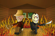 A4 Poster - Jason & Freddy Krueger Toasting Marshmallows (Picture Poster Art)