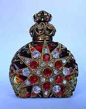 Luxury Vintage Czech Handmade  Rhinestones ANTIQUE GOLD Glass Perfume bottle