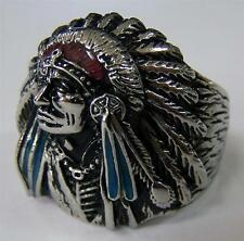 INDAIN WITH FEATHER BONNET STAINLESS BIKER RING #510-S Fashion mens womens NEW