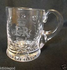 Queen Elizabeth  1953  Coronation Hand Cut and Etched Commemorative Crystal mug