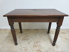Antique Victorian Primitive Turned Leg Desk Dining Work Farm Table D