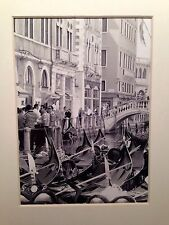 Gondolas on canal, Venice Italy 12.5x17.5cm Black & White