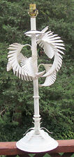 Big Palm Tree Table Lamp White Toleware Mid Century Modern