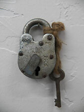 Antique Vintage RUSTIC 40MM Aligarh India Bank Lock Padlock w/Skeleton Key