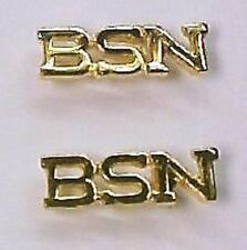 BSN Nurse BS Nursing Medical Lapel Pin Tac Set of 2 Gold Plate NIB Prestige