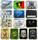 GOLD 2oz TOBACCO TINS,STASH CAN,STORAGE TIN,30 DESIGNS TO CHOOSE FROM