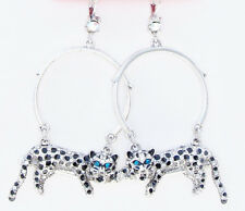 BETSEY JOHNSON 'Whiteout' Snow Leopard Silver-Tone Hoop Drop Earrings