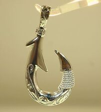 28MM HAWAIIAN 925 SILVER HEAVY REVERSIBLE SCROLLS FISH HOOK KOA WOOD CZ PENDANT