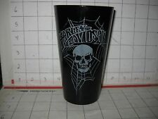 Harley Davidson Black Glass Tumbler- Skull & Spiderwebs Halloween