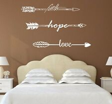 Wall Decals Quotes Arrows Faith Hope Love Decor Vinyl Sticker Bedroom Boho X55