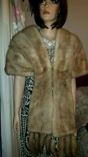 Genuine Vintage Sable Real Mink Fur Stole Wrap Shawl Convertible Coat Jacket 2pc
