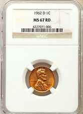 1962-D LINCOLN MEMORIAL CENT 1C NGC MS67 RED, NONE FINER, PG = $2,500!