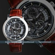 New Fashion Date Men Brown Leather Band Skeleton Mechanical Wrist Watch