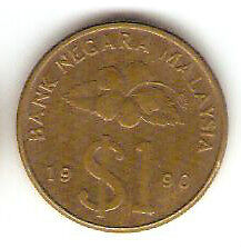 Offer Malaysia Kris $1  coin  1990  lustre  very nice!