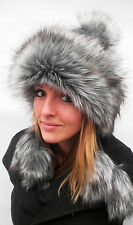 Ladies hat Tatra cap Pompom hat Faux fur in grey/Black Knitted hats