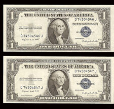 2 1935G UNC US SILVER Certificate Old ONE DOLLAR Blue Seal with Motto Bill Notes