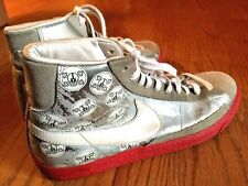 NIKE SWOOSH MENS LEATHER HIGH TOP ATHLETIC BASKETBALL Skull Head SHOES SZ 8