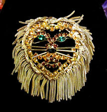 Vintage 1960'S DOMINIQUE Large Lion's Head Figural Pin Brooch or Pendant BOOK PC