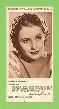"""#G. 1930s LUX  SOAP """"FAMOUS FILM STARS"""" ACTRESS CARD 5th SERIES BARBARA STANWYCK"""