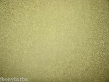 ROSE OUTLINE FLOWER GOLD METAL LINES on YELLOW COTTON FABRIC Priced By The Yard