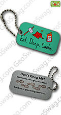 Eat sleep cache voyage tag (travel bug) pour geocaching