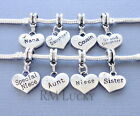 Silver tone Pendant Family Heart for European Charm Bracelet and Necklace. C106