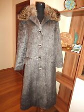 KARL LORENZ LAMA HAIR GREY COAT WITH NATURAL FUR COLLAR-L/XL,14/16-UK