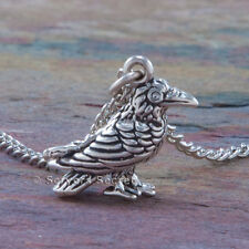 925 sterling silver 3D RAVEN Crow Charm Magical Pagan Wiccan Pendant Necklace