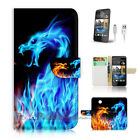 HTC Desire 310 Print Flip Wallet Case Cover! Fire and Ice Dragon P0428