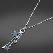 * nuevo * Plateado Bijoux Collar Con Precioso Azul Estrellas Cluster Colgante