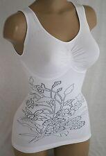 ♥Schlankstütz Mieder-Hemd Gr. XL 46/48 Perlweiß mit eingestickten Blume SK3♥