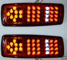 2x 12V LED Rear Tail Lights Lamps for Truck Trailer Chassis Van Bus 4 functions