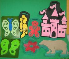 7 LARGE RUBBER STAMPS-CASTLE-BUTTERFLY-BEAR-SNOWFLAKE-PARROT-GINGERBREAD MAN