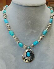 BEADED PARROT TURQUOISE BEAR CLAW .925 BALI STERLING SILVER PENDANT NECKLACE